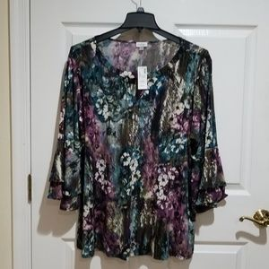 Flower Print Tunic 3/4 sleeves NWT
